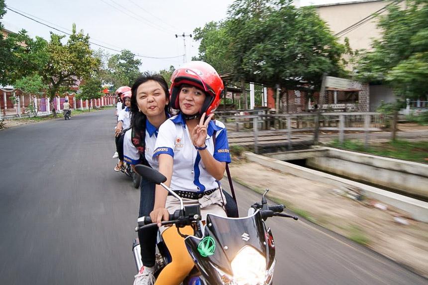 Girls on motor bike