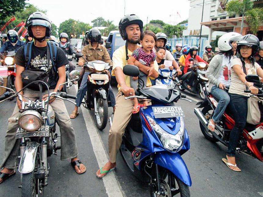 Motor bikes waiting